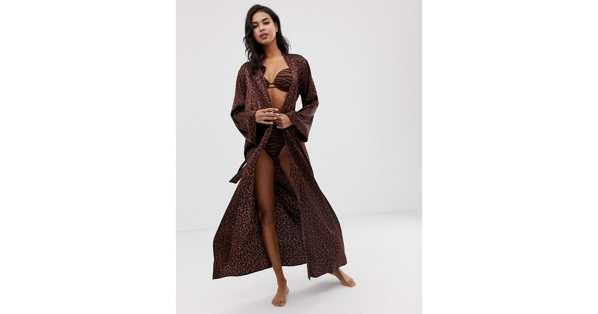 c350133582 Savage x Fenty Animal Print Satin Long Kimono Robe In Toffee Leopard in  Brown - Lyst