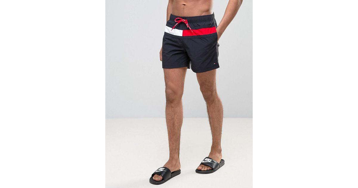 2442966664 Tommy Hilfiger Large Flag Swim Shorts In Navy in Blue for Men - Lyst