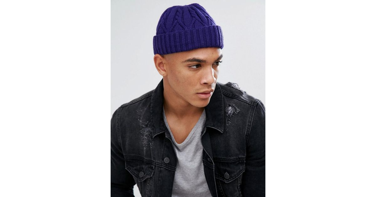 Mini Fisherman Beanie In Purple Cable Knit - Purple Asos