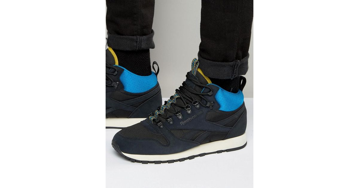5cf2cfe79dc2 Lyst - Reebok Classic Leather Mid Winter Trainers In Black Aq9665 in Black  for Men