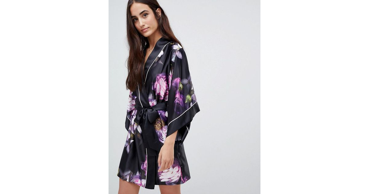416aab44bcc24 Ted Baker B By Sunlit Floral Kimono in Black - Lyst