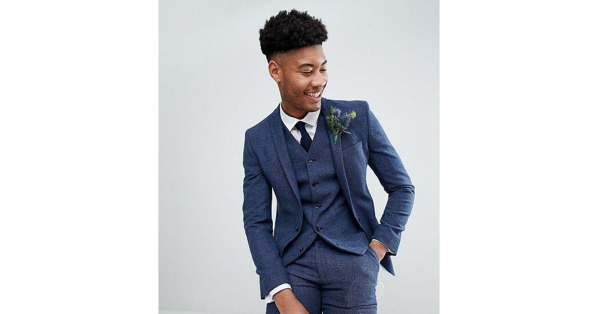 ce65aa45d4d801 ASOS Asos Tall Wedding Super Skinny Suit Jacket In Petrol Blue Herringbone  in Blue for Men - Lyst