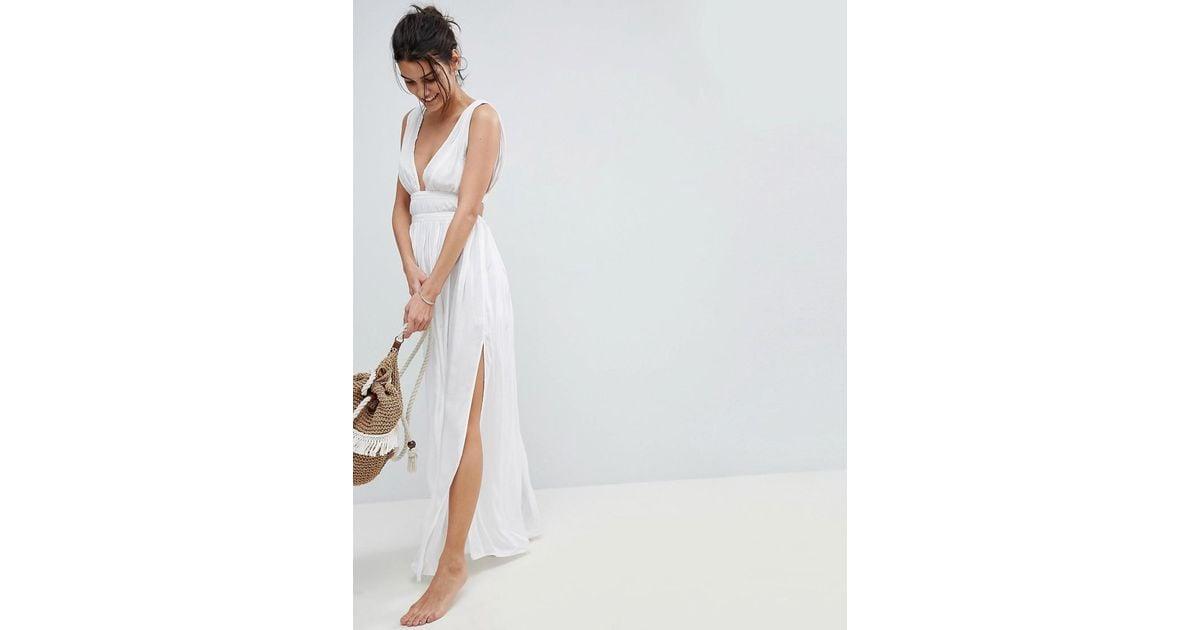 Lyst - Asos Grecian Plunge Maxi Woven Beach Dress in White