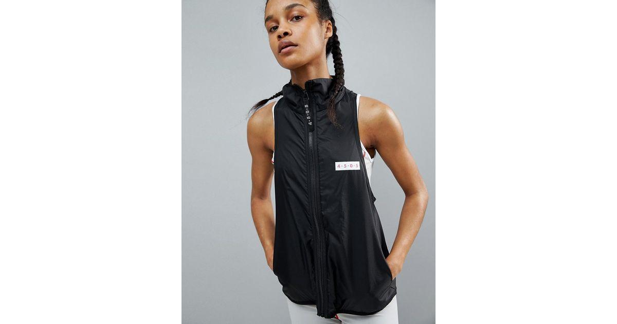17f8b47461d82b Lyst - Asos 4505 Sleeveless Run Jacket With Back Zip Functional Detail in  Black