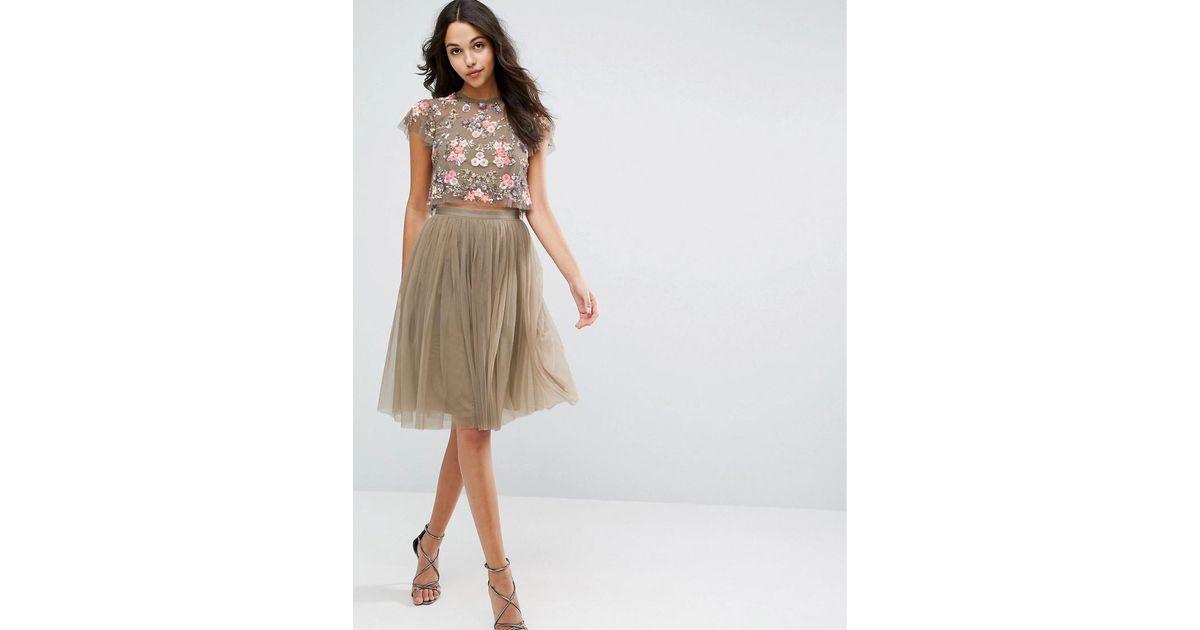 Women's Green Tulle Midi Skirt
