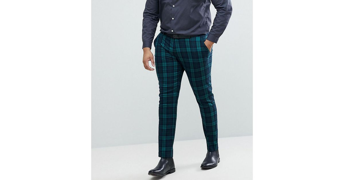 purchase original beautiful style special promotion ASOS Green Asos Plus Super Skinny Suit Trousers In Blackwatch Tartan for men