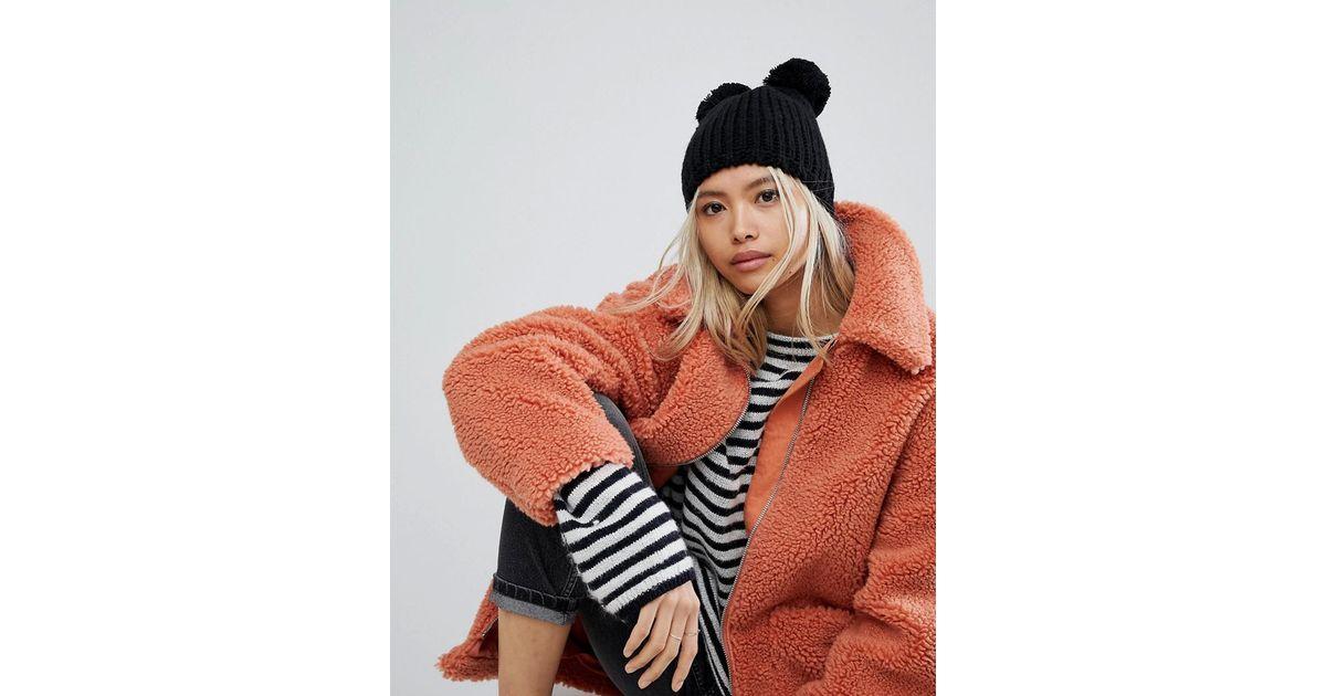 0abcf6db03e Lyst - Helene Berman Taupe Knit Hat With Double Pom Pom