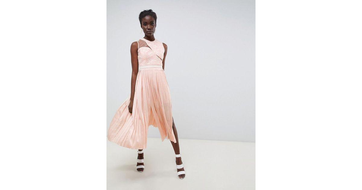 Three Floor Asymmetric Shoulder Pleated Midi Dress In Pink