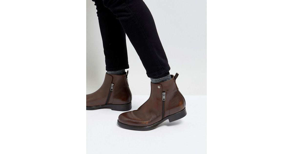 Brown Leather Zip Chelsea Boots - Brown Diesel Best Place Visit New Sale Online Up To Date NokibWCZ3W