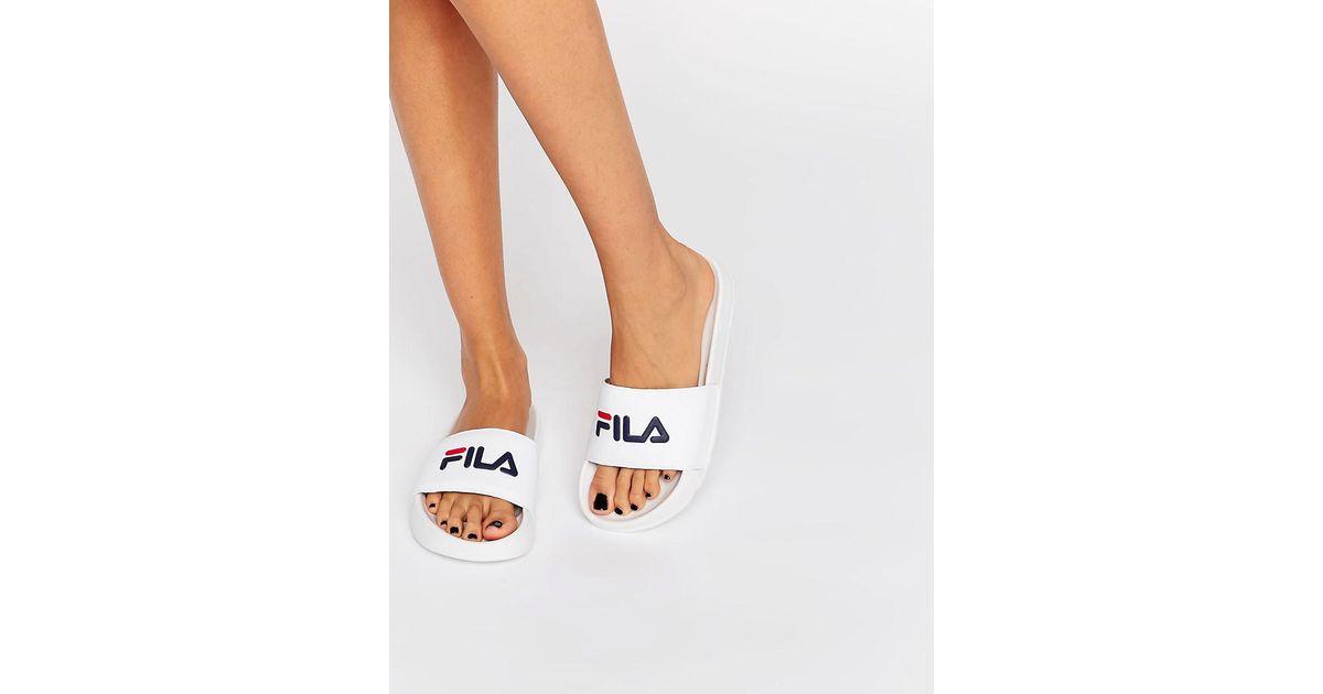 Fila Drifter Logo Sliders in White - Lyst