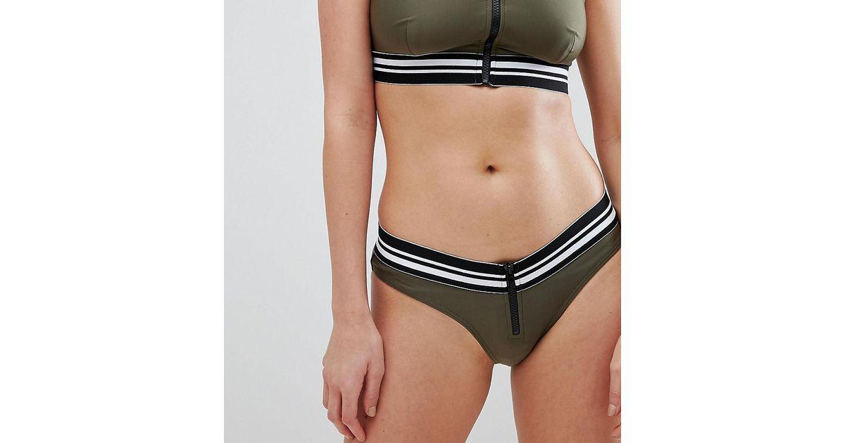 62366dc00f39e Wolf   Whistle High Leg Zip Bikini Bottom in Green - Lyst