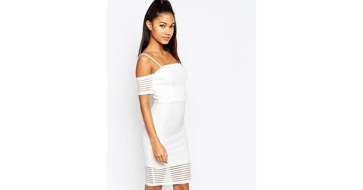 Lipsy Ariana Grande For Off Shoulder Mesh Pencil Dress In White Lyst