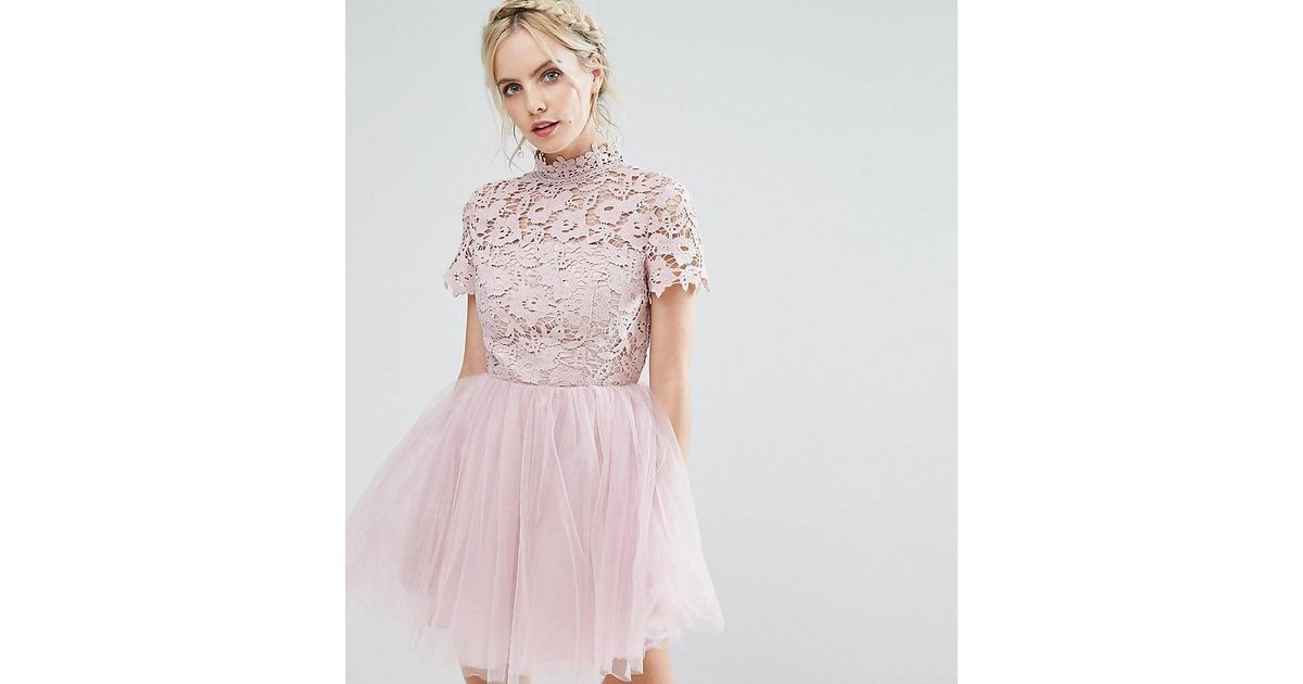 Chi Chi London Lace Top Full Prom Mini Dress With Tulle