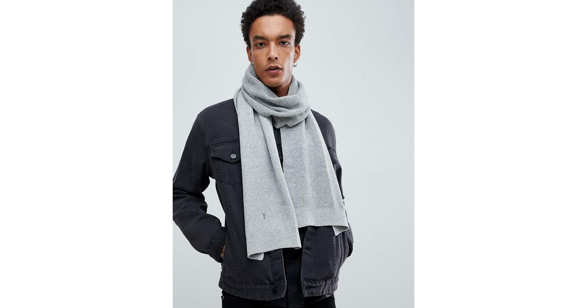 a32564862b6a7 AllSaints Trias Scarf In Light Gray in Gray for Men - Lyst