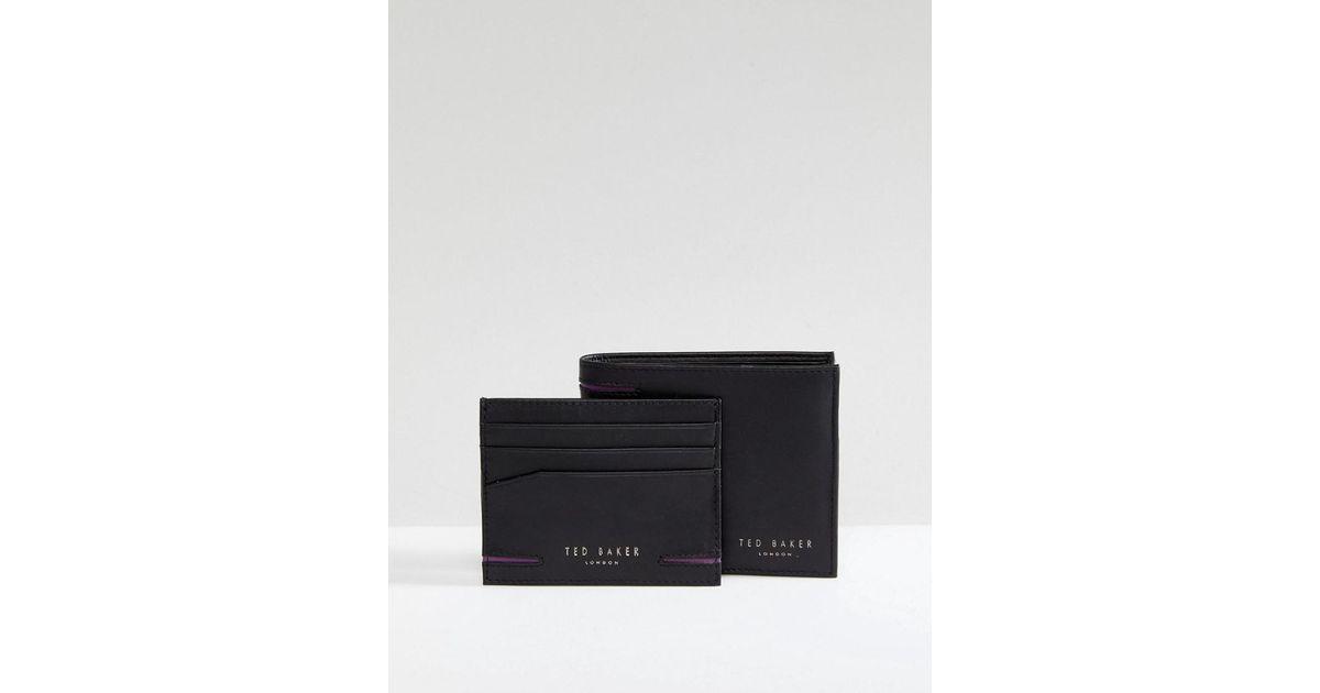84cbff6d5ac165 Lyst - Ted Baker Figset Wallet   Cardholder Gift Set in Black for Men