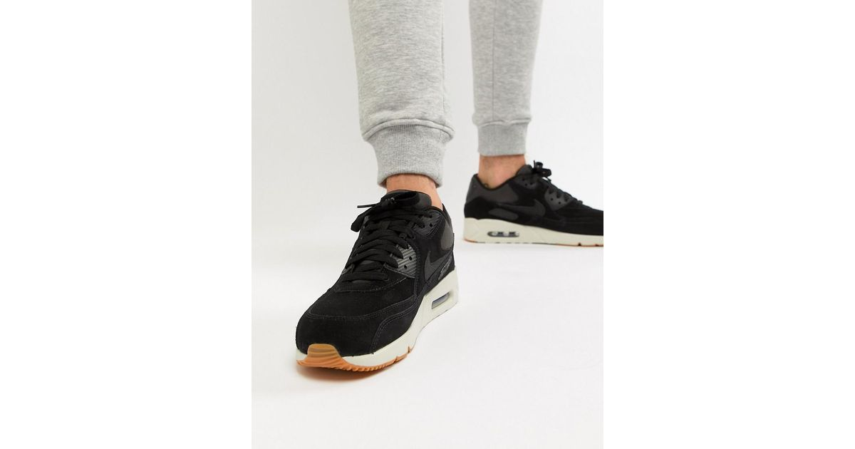 3ef9f7dab3 Nike Air Max 90 Ultra Leather Trainers In Black 924447-003 in Black for Men  - Lyst