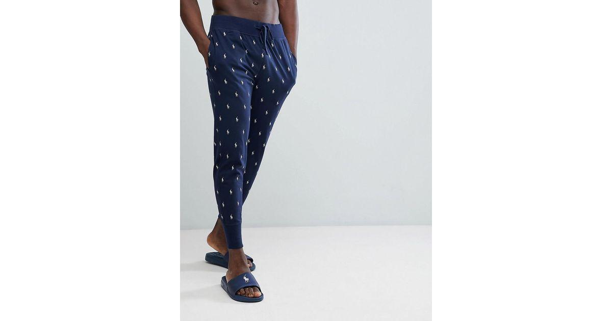 449a5247c9fa Lyst - Pantalon de jogging léger resserré aux chevilles à imprimé joueur de  polo sur l ensemble Polo Ralph Lauren pour homme en coloris Bleu