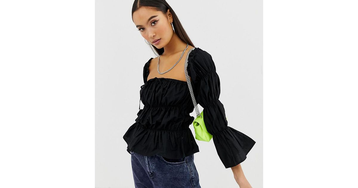 d8e21485735d6 Lyst - Collusion Ruched Tie Front Off The Shoulder Top in Black