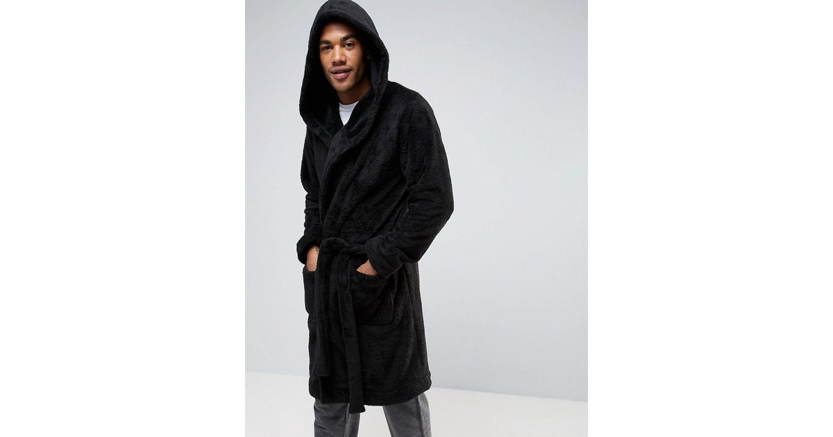 Lyst - Asos Hooded Fleece Robe in Black for Men
