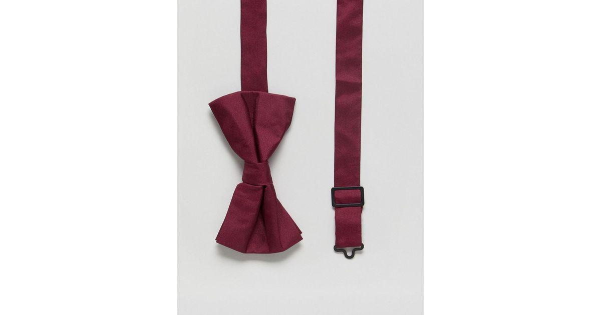 DESIGN silk bow tie in burgundy - Burgundy Asos ohuFMqCkl6