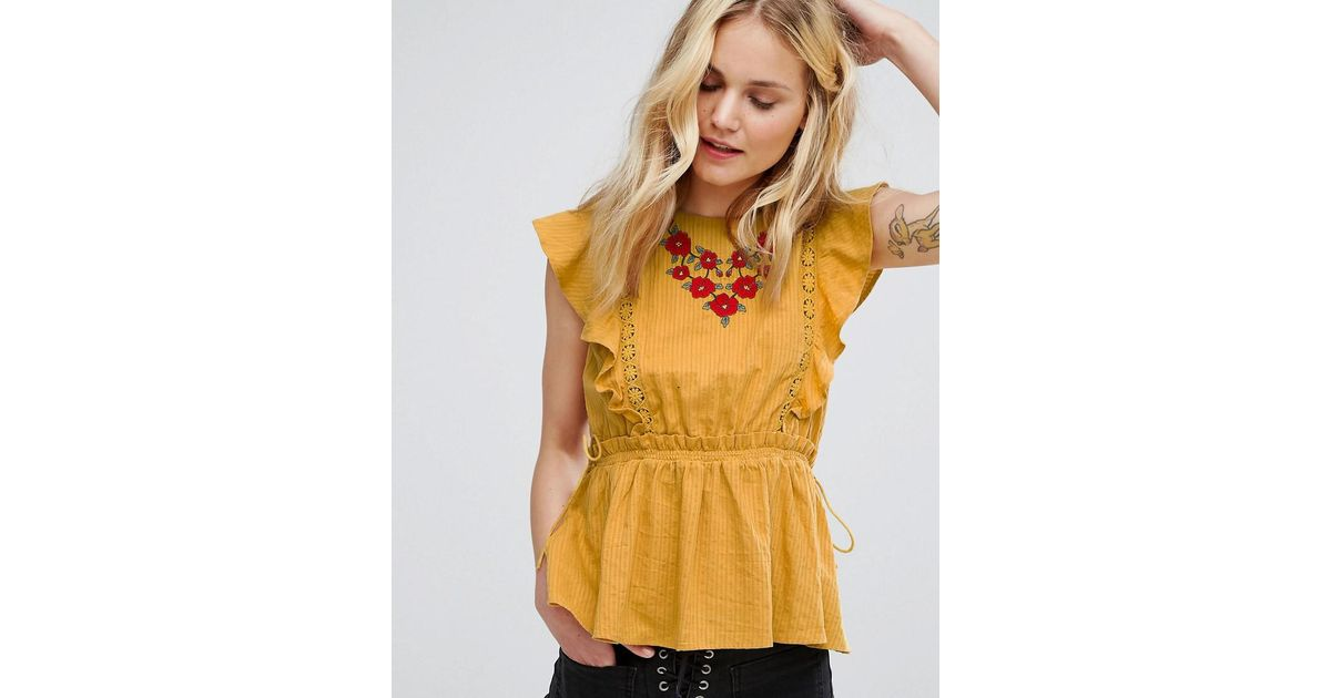 b01609fe90660f Lyst - Moon River Embroidered Ruffle Sleeveless Top in Yellow