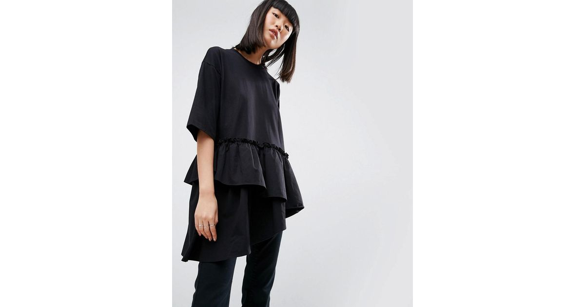 d0ebf4c9a9 Lyst - ASOS T-shirt With Contrast Layered Frill Hem in Black