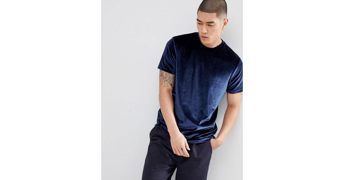 Official Site Online Discount Great Deals DESIGN T-Shirt In Velour In Navy - Navy Asos hDCchgx