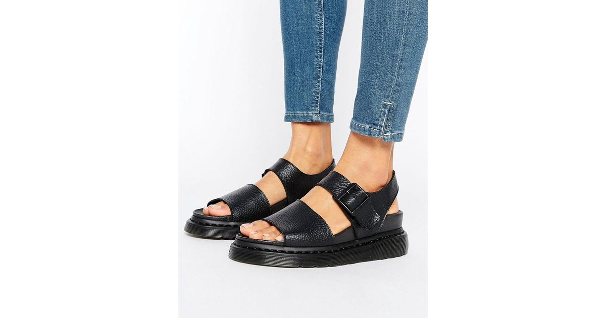 1ca3bda7eb97 Dr. Martens Romi Black Leather Strap Flat Sandals in Black - Lyst