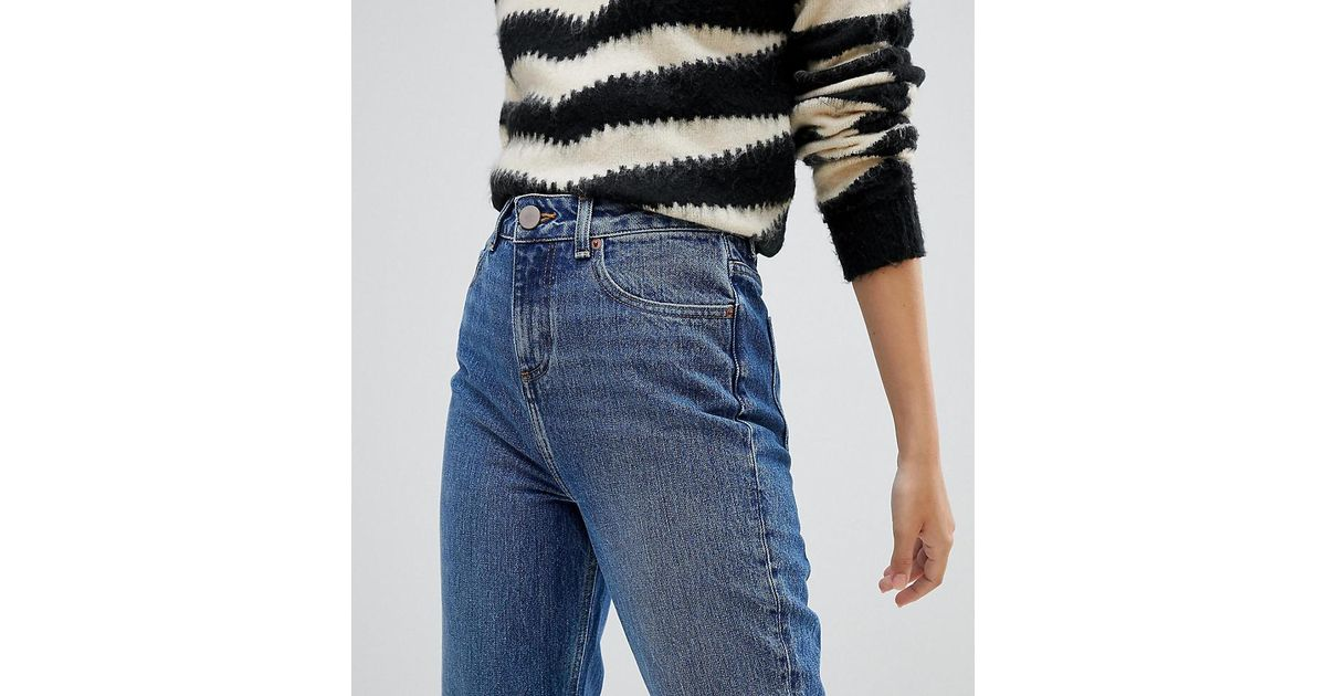 8a3e754e729 Lyst - ASOS Asos Design Petite Recycled Ritson Rigid Mom Jeans In Rich  Stonewash Blue in Blue