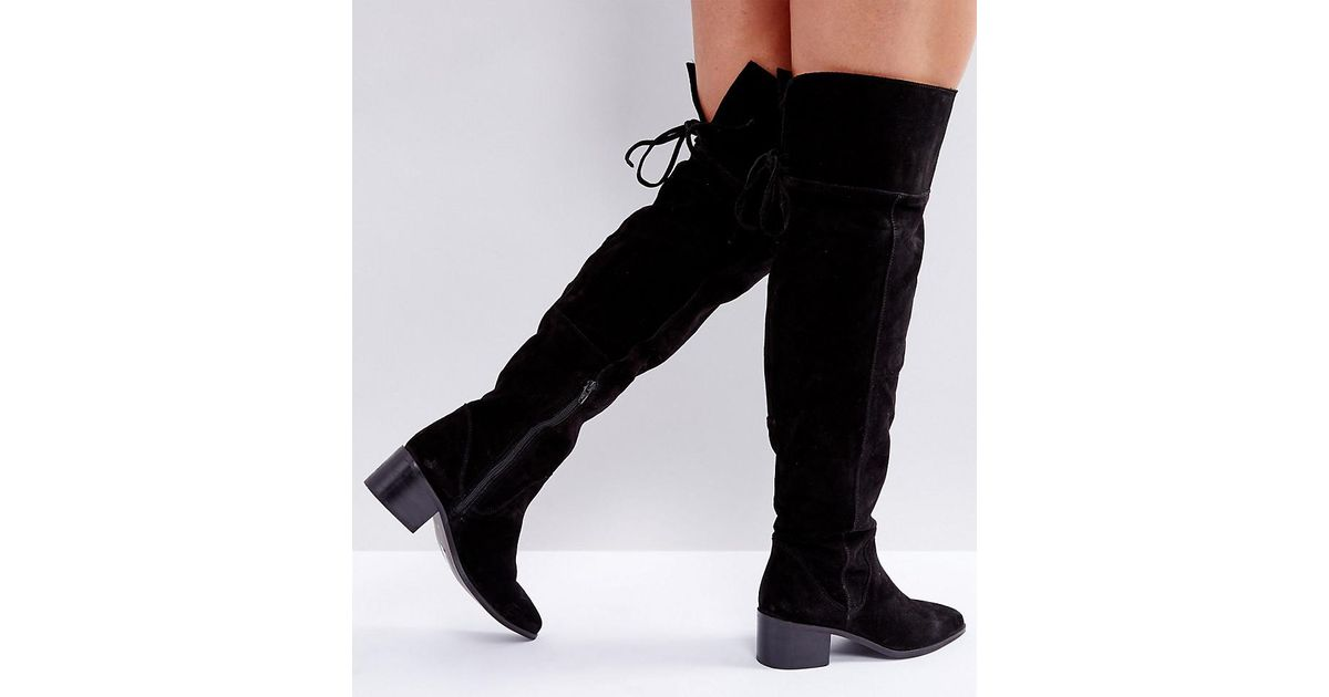 fa7fe9de3f9 ASOS Asos Kobra Wide Fit Suede Over The Knee Boots in Black - Lyst