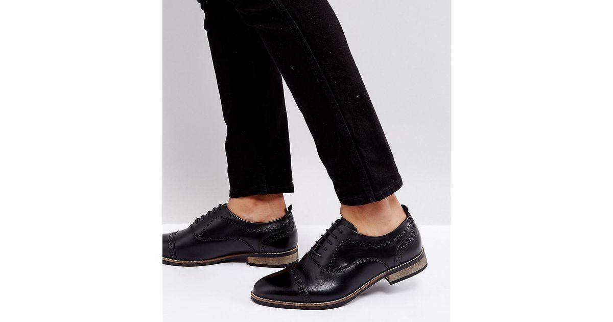 Asos Coupe Large Chaussures Richelieu En Cuir Noir Avec Semelle Naturel - Noir ETp4nI