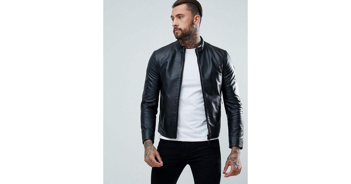 Lyst Armani Jeans Fine Textured Leather Biker Jacket In Black For Men