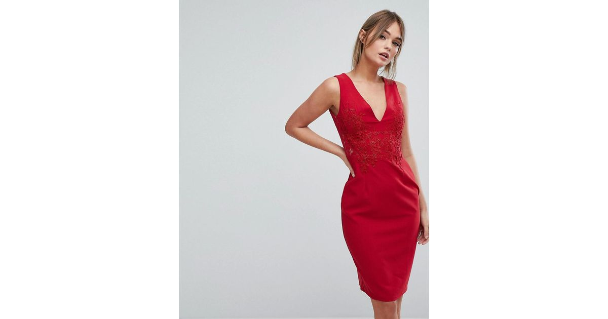 Lyst little mistress plunge front lace applique bodycon dress in red