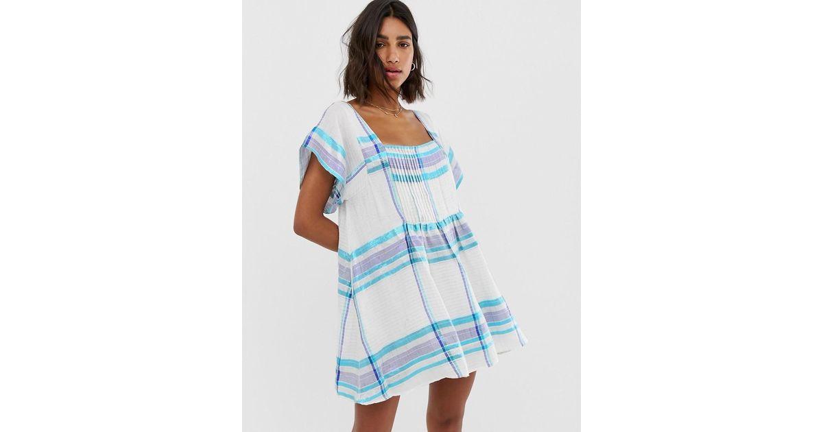 Free People - White Barcelona Stripe Smock Dress - Lyst
