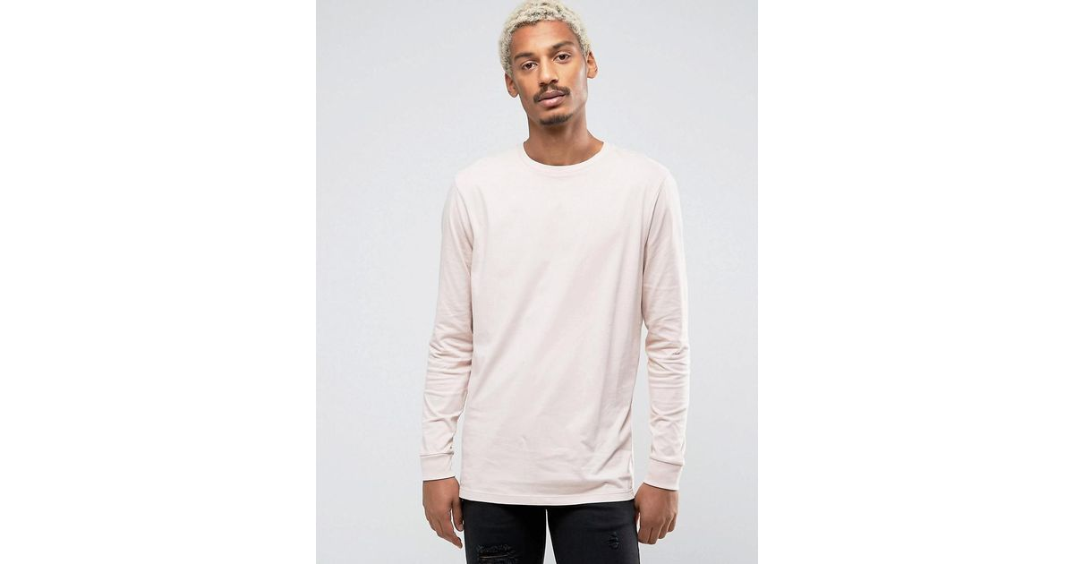 a8cae4be Lyst - Asos Longline Long Sleeve T-shirt in Pink for Men