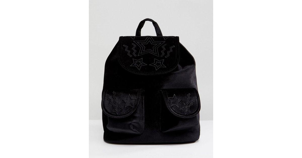 Star Embossed Pocket Velvet Backpack - Black Skinny Dip JMQ8WW6