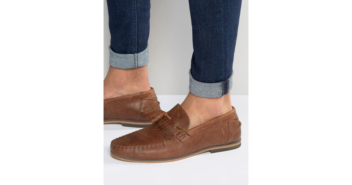 a8240522c6b ASOS Tassel Loafers In Tan Leather With Fringe And Natural Sole in Brown  for Men - Lyst