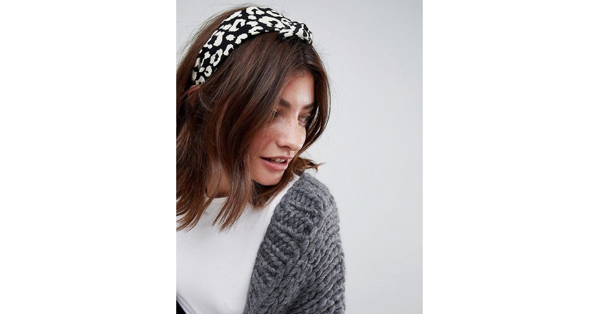 ASOS Limited Edition Mono Leopard Print Knot Headband - Lyst 43f19e9a26f