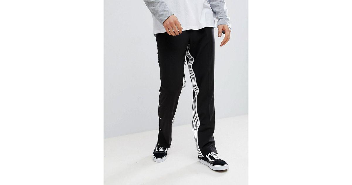 DESIGN Straight Smart Trouser With Insert Stripe & Popper Hem - Black Asos nJK7dewpW4