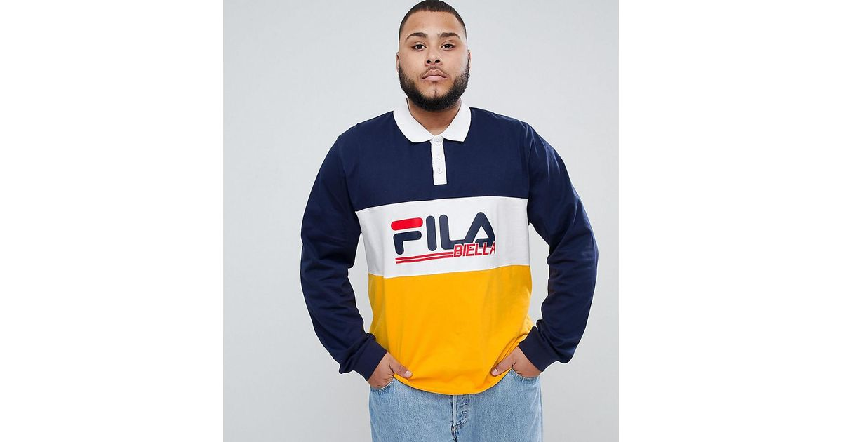 e3dccf0c Fila Long Sleeve Rugby Polo Shirt With Retro Panel Logo In Navy in Blue for  Men - Lyst