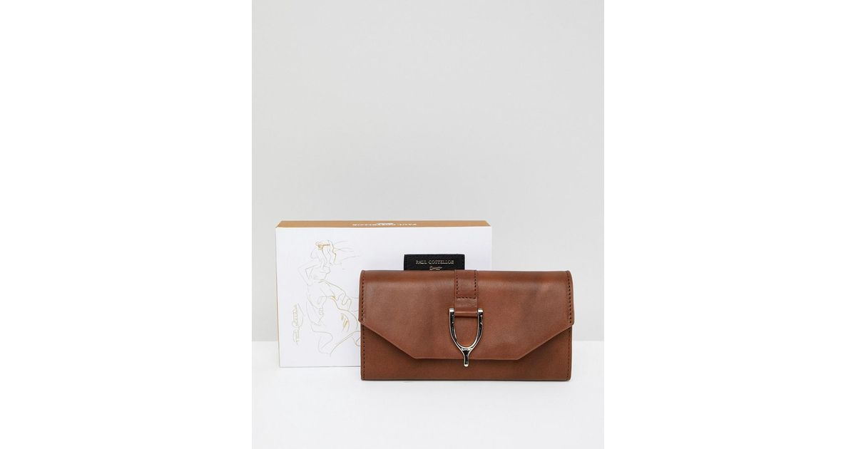 76d1606987f8 Paul Costelloe Real Leather Saddle Buckle Evelope Purse in Brown - Lyst