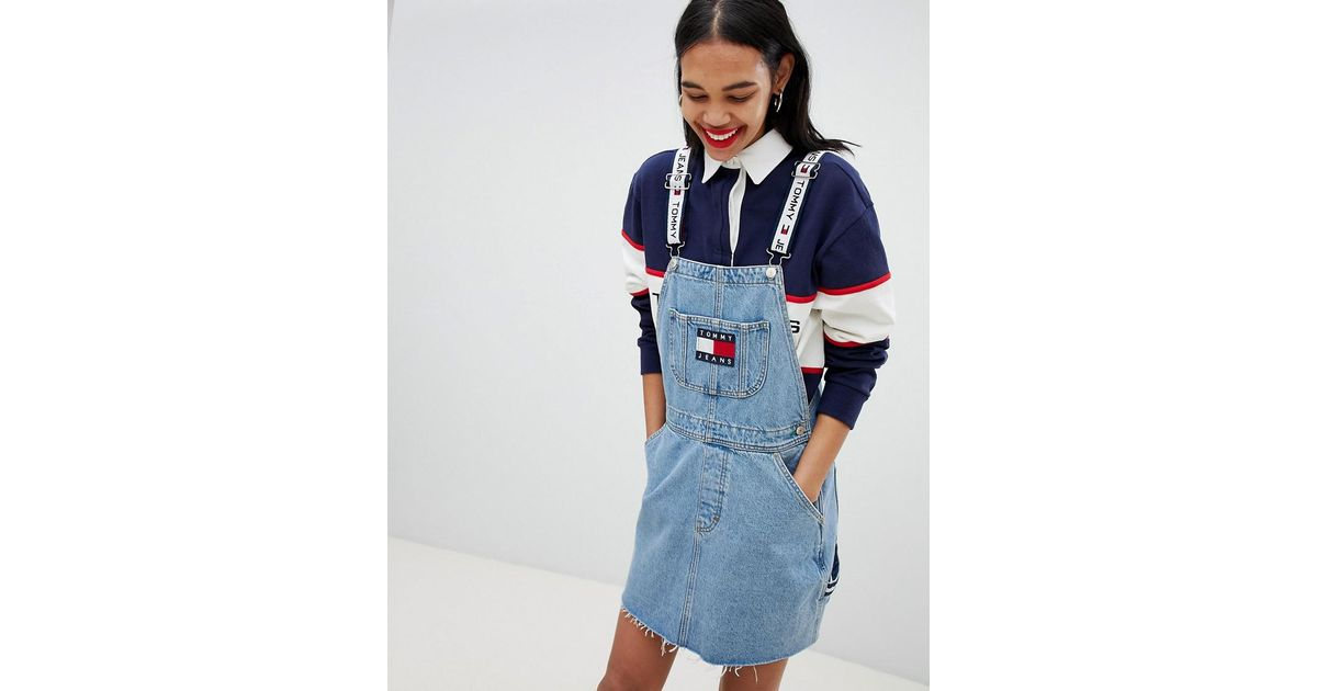 22951be8963 Lyst Tommy Hilfiger Jean 90s Capsule 5 0 Denim Overall Dress