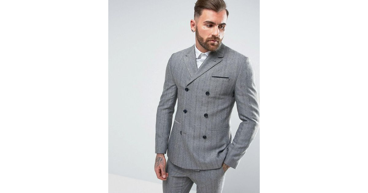 8d8ce63734f1 Lyst - ASOS Skinny Double Breasted Suit Jacket In Blue Herringbone in Blue  for Men