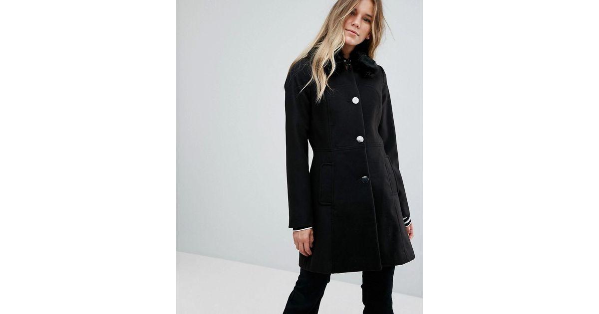 1797e4f385de Lyst - Oasis Faux Fur Collar Swing Coat in Black