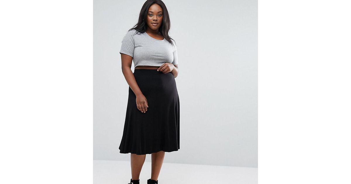 Lyst - Asos Longer Length Midi Skater Skirt In Jersey in Black 9e9cab7412d5