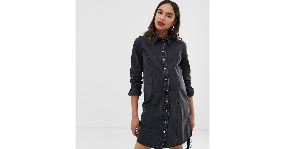 34317b48c310e Lyst - ASOS Asos Design Maternity Denim Fitted Western Shirt Dress In  Washed Black in Black