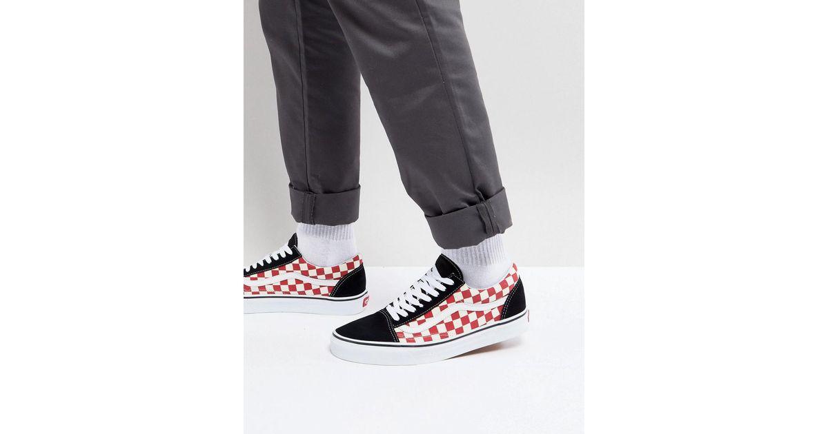 218124763addb3 Vans Old Skool Checkerboard Trainers In Red Va38g135u in Red for Men - Lyst