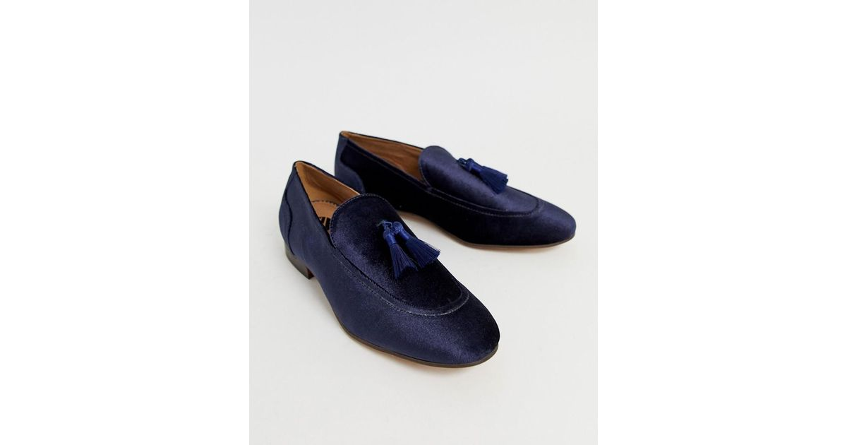 fbca4561c05 H by Hudson Canton Tassel Loafers In Navy Velvet in Blue for Men - Lyst
