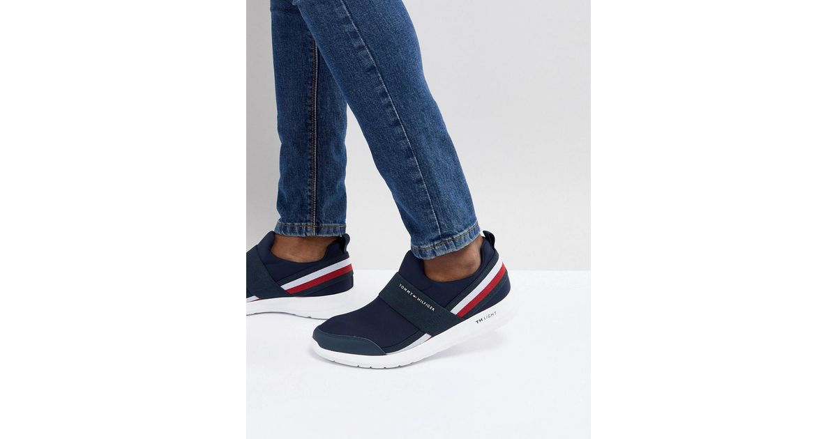 ab108caf1a05 Tommy Hilfiger Technical Icon Stripe Elastic Slip On Sneakers In Navy in  Blue for Men - Lyst