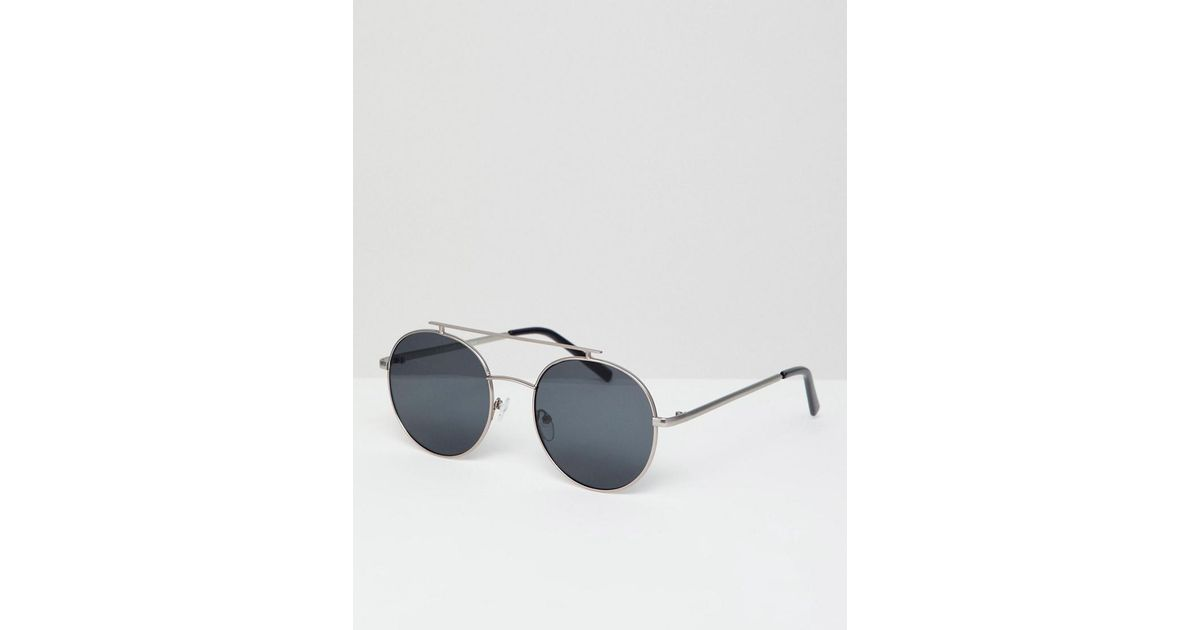 8a3bfe8078 A.J. Morgan Round Double Brow Sunglasses In Silver in Metallic for Men -  Lyst